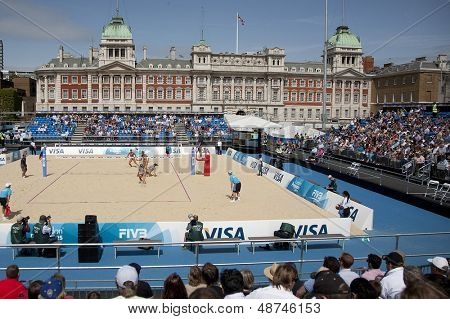 10/08/2011 LONDON, ENGLAND,  A general view of action during the FIVB International Beach Volleyball tournament, at Horse Guards Parade, Westminster, London.