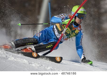 VAL D'ISERE FRANCE. 12-12-2010. BAECK Axel SWE attacks a control gate during the FIS alpine skiing world cup slalom race on the Bellevarde race piste Val D'Isere.