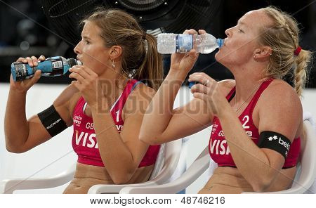 12/08/2011 LONDON, ENGLAND, Shauna Mullin & Zara Dampney (GBR) during the FIVB International Beach Volleyball tournament, at Horse Guards Parade, Westminster, London.