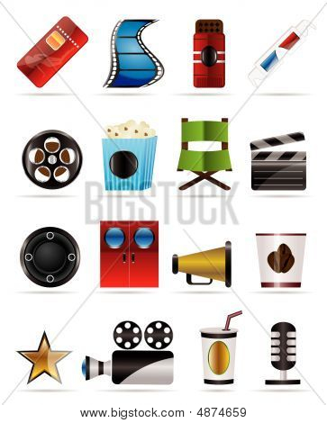 Cinema And Movie - Vector Icon Set