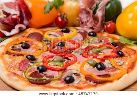 Hot Pizza With Garnish And Components