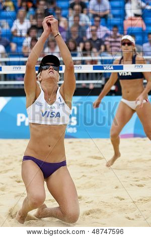 12/08/2011 LONDON, ENGLAND, Brittany Hochevar (USA) in action during the FIVB International Beach Volleyball tournament, at Horse Guards Parade, Westminster, London.