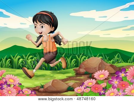 Illustration of a young girl running hurriedly