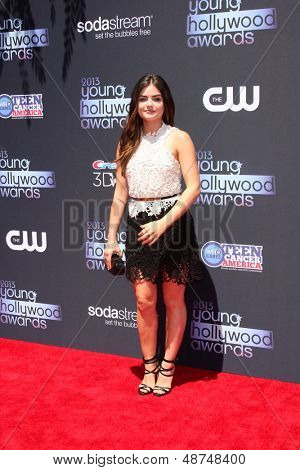LOS ANGELES - AUG 1:  Lucy Hale arrives at the 2013 Young Hollywood Awards at the Broad Stage on August 1, 2013 in Santa Monica, CA