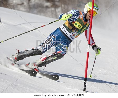 VAL D'ISERE FRANCE. 12-12-2010. MILLER Bode USA attacks a control gate during the FIS alpine skiing world cup slalom race on the Bellevarde race piste Val D'Isere.