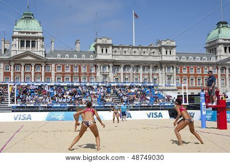 10/08/2011 LONDON, ENGLAND, Heather Bansley & Elizabeth Maloney (CAN) vs Alejandra Simon & Andrea Garci�­a Gonzalo (ESP) during the FIVB Beach Volleyball, at Horse Guards Parade, Westminster, London.