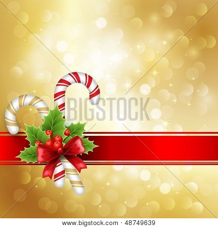 Christmas decoration with holly and red ribbon