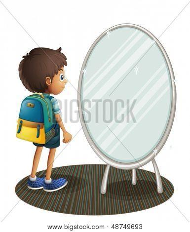 Abbildung eines jungen vor dem Spiegel auf weißem Hintergrund