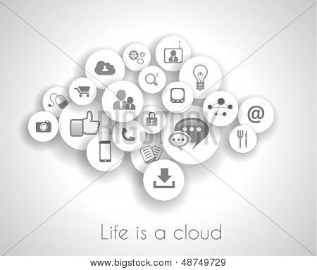Social network life concept with cloud reference. A lot ot icons with delicate shadows