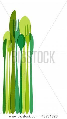 Green Cutlery Illustration