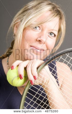 Happy Smiling Female Tennis Player With Racquet And Ball Healthy Lifestyle Concept