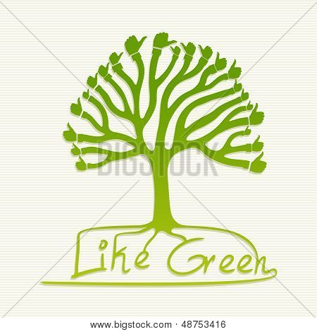 Green Thumb Up Tree Illustration