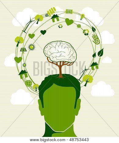 Green Ideas Tree Head Concept