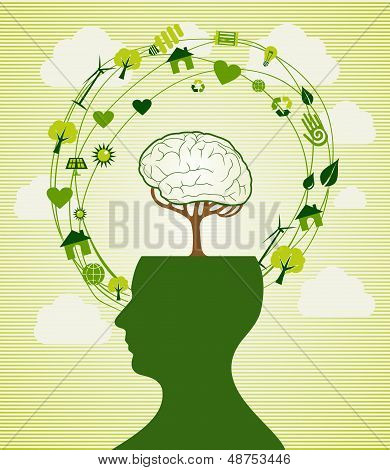 Green Recycle Head Illustration