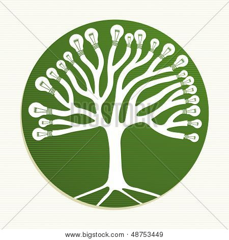 Green Circle Recycle Tree Illustration