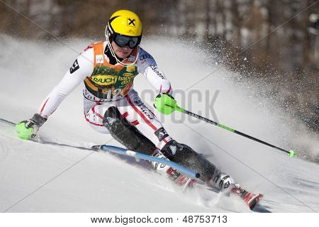 VAL D'ISERE FRANCE. 12-12-2010. HIRSCHER Marcel AUT  attacks a control gate during the FIS alpine skiing world cup slalom race on the Bellevarde race piste Val D'Isere.