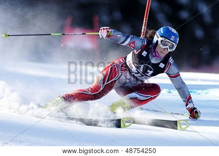 LIENZ, AUSTRIA 28 December 2009. Karolina Chrapek POL speeds down the course while competing in the first run of the women's Audi FIS Alpine Skiing World Cup giant slalom race.