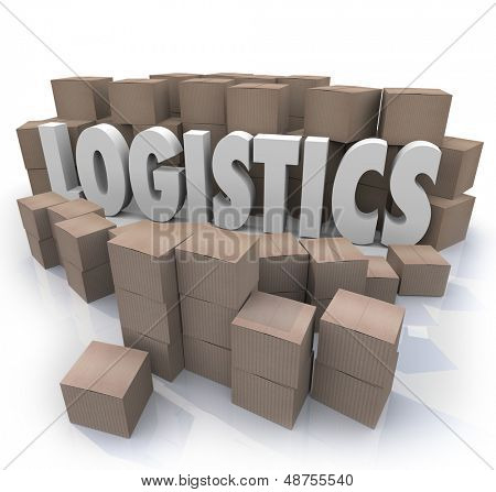 The word Logistics surrounded by cardboard boxes in a warehouse to illustrate shipping effiencies