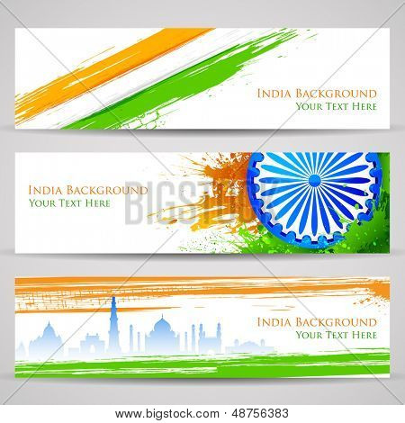 illustration of set of banner and header for colorful India