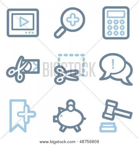 Compras en línea de contorno serie de iconos, azul