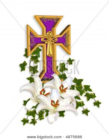 Easter Cross And Madonna Lilies Religious