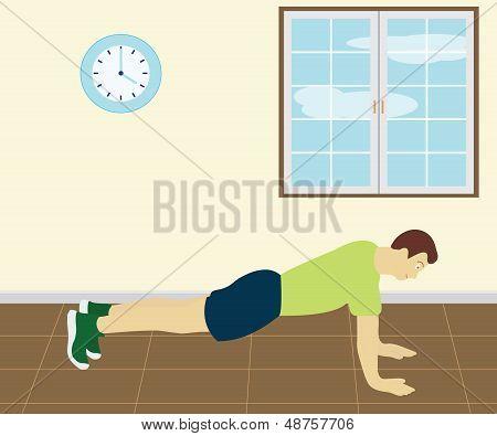 Homem fazendo Push Up na sala de