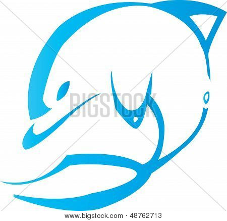 Illustration of a dolphin swimming 2