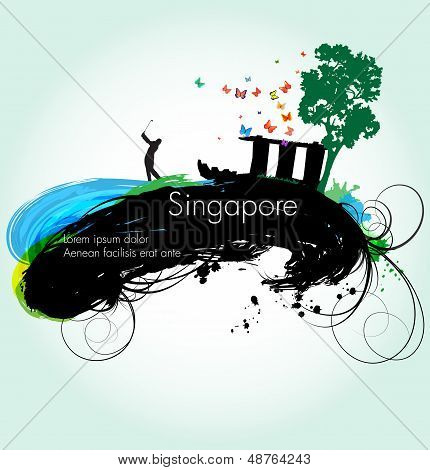 Vector grunge illustration of Singapore
