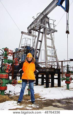 Worker In An Oil Field.