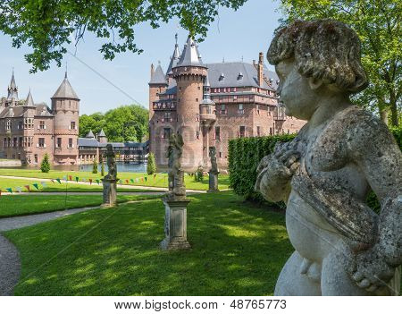 Cherub in the gardens of Castle De Haar, The Netherlands