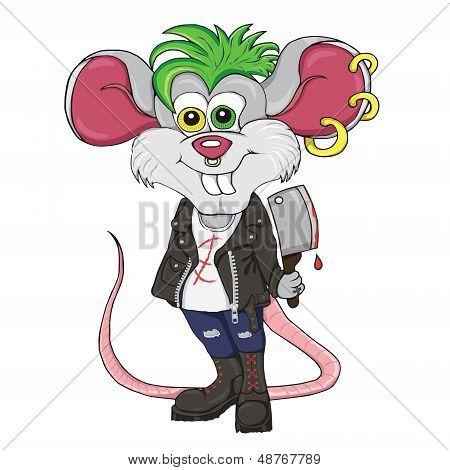 Cartoon character. Mouse-punk