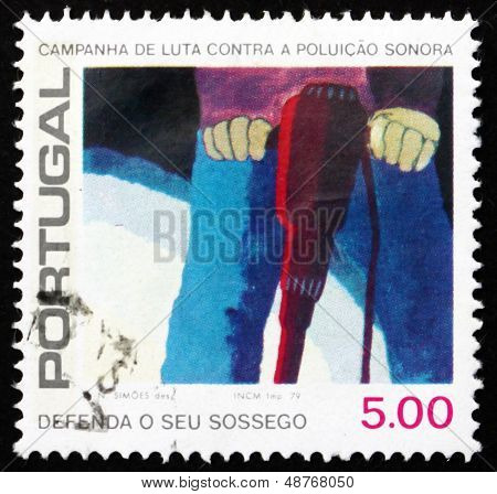 Postage Stamp Portugal 1979 Pneumatic Drill, Combat Noise Pollut