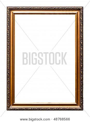 Golden Old Picture  Frame, Isolated On White