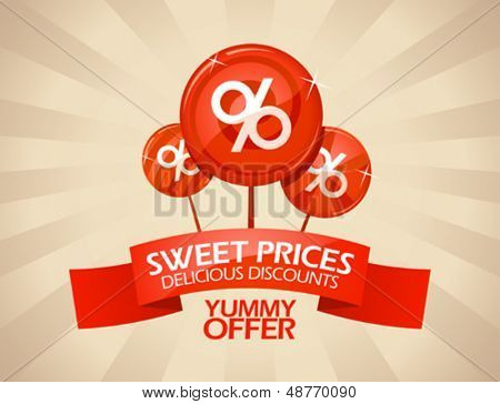Sweet prices, delicious discounts design template.