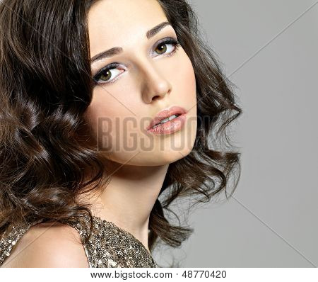 Beautiful Sexy Woman With Broun Curly Hairs