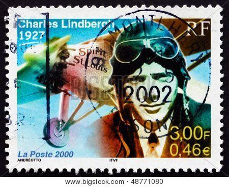 Postage Stamp France 2000 Charles Lindbergh, Aviator