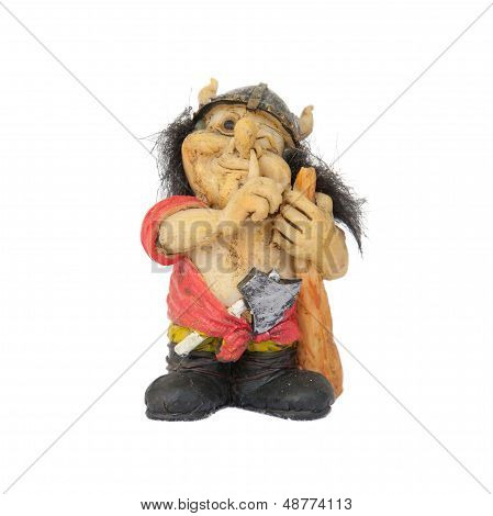 Small Statue Of A Nosepicking Troll