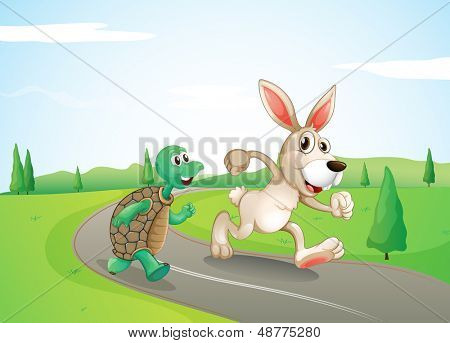 Illustration of a bunny and a turtle running along the road