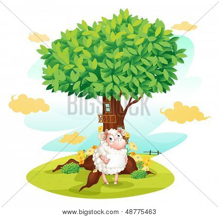 Illustration of a sheep holding an empty signboard beside a treehouse on a white backgrund