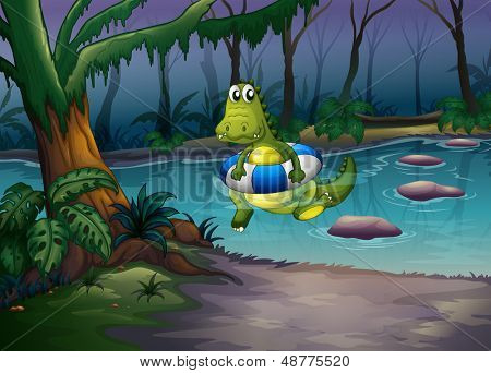 Illustration of a crocodile with a bouy at the pond