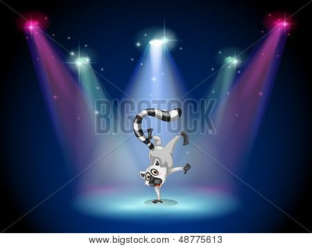 Illustration of a lemur performing a show on stage