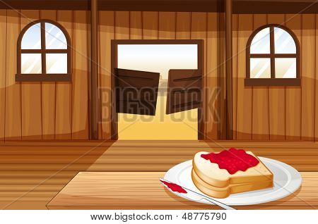 Illustration of a table with a sandwich in a plate inside the saloon bar