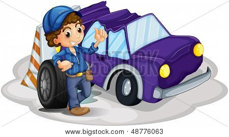 Illustratio of a boy standing in front of a wheel beside the damaged car on a white background