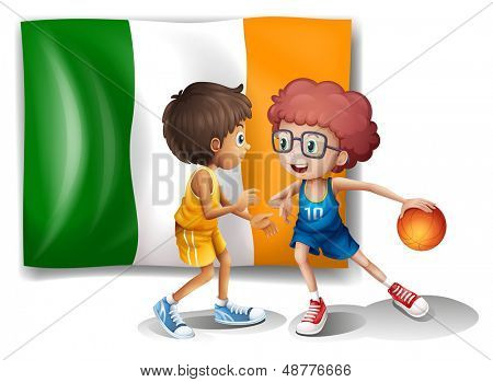 Illustration of the flag of Ireland at the back of the basketball players on a white background