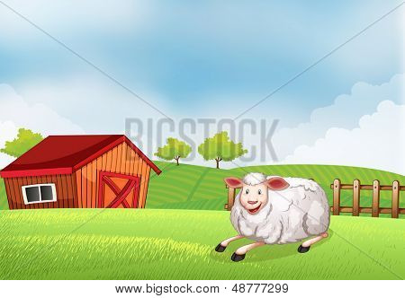 Illustration of a sheep lying on the farm with a barn