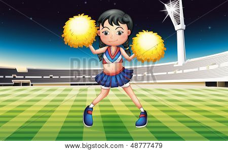 Illustration of a cheerer with a yellow pompom