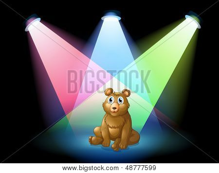 Illustration of a bear sitting at the center of the stage with spotlights
