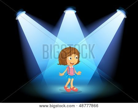 Illustration of a girl smiling at the center of the stage