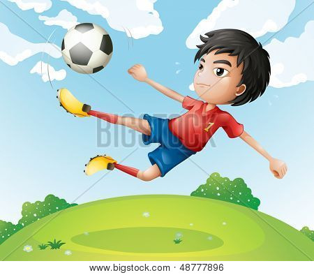 Illustration of a football player in his red uniform kicking the ball