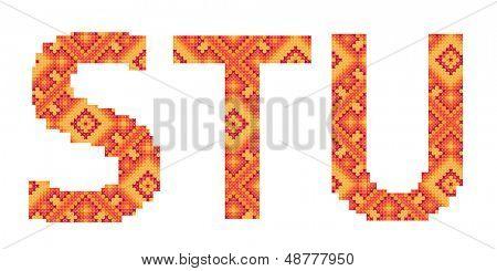 ponto de cruz folk ornamento letras S T U